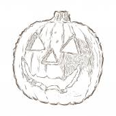 Scary Jack O Lantern halloween pumpkin isolated on a white background. Line art. Retro design. Vector illustration. — Stock Vector