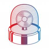 Emergency siren isolated on a white background. Gradient line art. Retro design. Vector illustration. — Stock Vector