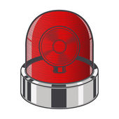 Red emergency siren isolated on a white background. Color line art. Retro design. Vector illustration. — Stock Vector
