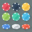 Set of colorful gambling chips, casino tokens isolated. Flat style with long shadows. Modern trendy design. Vector illustration. — Stock Vector #58211347
