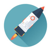 Space Rocket Ship. Start Up concept symbol. Flat style with long shadows. Modern trendy design. Vector illustration. — Stock Vector