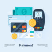 Card, Money, Coins and Cheque. Payment Methods Concept. Flat Style with Long Shadows. Clean Design. Vector Illustration. — Stock Vector