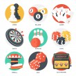 Casino Sport and Leisure Games Icons (Chess, Billiard, Poker, Darts, Bowling, Gambling Chips, Pinball, Dice and Slot Machine). Flat Style. Clean Design. Vector Illustration. — Stock Vector #66892183