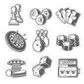 Casino Sport and Leisure Games Icons (Chess, Billiard, Poker, Darts, Bowling, Gambling Chips, Pinball, Dice and Slot Machine). Black Outline Style. Vector Illustration. — Vetor de Stock