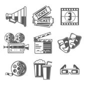 Cinema Icons Set (Megaphone, Tickets, Countdown, Camera, Clapper Board, Masks, Bobbin, Popcorn and Drink, Glasses). Black Outline Style. Vector Illustration. — Stock Vector