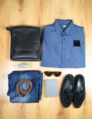 Overhead of essentials modern man. Outfit of business man. — Stock Photo