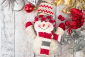 Christmas Decorations with snowman,gift and christmas baubles — Stock Photo