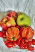 Stiil life. peppers, tomatoes and apples — Stock Photo