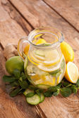 Water with lemon, ginger, cucumber, mint — Stock Photo