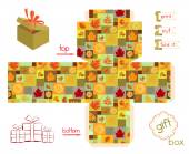 Printable Gift Box Fall Season — 图库矢量图片