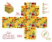 Printable Gift Box Fall Season — Διανυσματικό Αρχείο