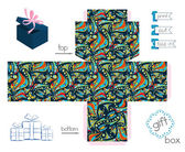 Printable Gift Box With Abstract Crazy Pattern — 图库矢量图片