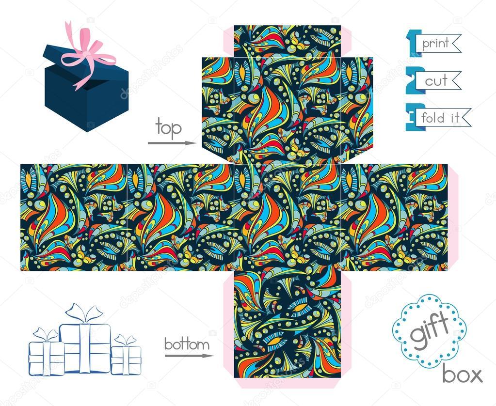 40 Imágenes Abstractas Para Descargar E Imprimir: Caja De Regalo Para Imprimir Con Patrón Abstracto Loco