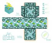Printable Gift Box With Mosaic Pattern And Fishes — Διανυσματικό Αρχείο