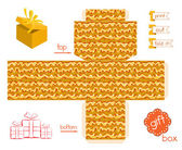Printable Gift Box With Abstract Wavy Pattern — Διανυσματικό Αρχείο