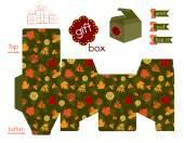 Printable Gift Box With Autumn Leaves — Stock Vector
