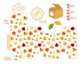 Printable Gift Box With Colorful Autumn Leaves — Stock Vector