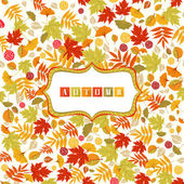 Background With Autumn Leaves Pattern And Banner — Stock Vector