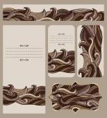 Cards Collection With Abstract Chocolate Waves Pattern — Stock Vector