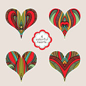 Set Of Abstract Colorful Hearts — Vetor de Stock