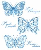 Blue Butterflies Watercolor Contour Drawing Imitation — Stock Vector