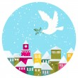 Winter Snow-covered Town And White Dove With Green Branch — Stock Vector #60347677