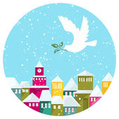 Winter Snow-covered Town And White Dove With Green Branch — Stock Vector