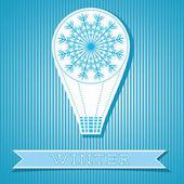 Card Design With Hot Air Balloon Winter Concept — Stock Vector