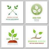 Collection Of Logos Of Green Leaf — Stock Vector