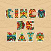Cinco De Mayo Ornate Title For Card With Ethnic Pattern — Stock Vector