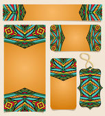 Set Of Printable Cards With Bright Mexican Pattern — Stock Vector