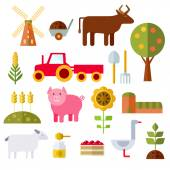 Farm Flat Icons On White Background — Stock Vector