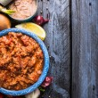 Tuna tomato sauce , ingredients on blue wooden background, top view,  place for text — Stock Photo #66135395