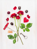 Valentines day card with red roses, key,heart and corkscrew, composing  on white wooden table, top view — Stock Photo