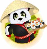 Panda sushi — Stock Vector