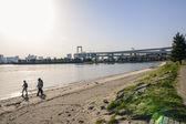 堤防、obaiba 島、東京、日本で歩いている男の子 — ストック写真