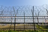 A fence at the Korean Demilitarized Zone, South Korea side — Stock Photo