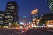 Beautifully blurred night city lights — Stock Photo