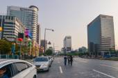 Wide central streets in downtown of Seoul — Stock Photo