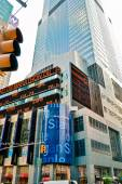 NEW YORK - CIRCA 2011. Skyscraper and Stock Exchange quotation In New York City, NY, USA — Stok fotoğraf