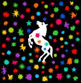 Festival koně s sprcha barvy — Stock vektor