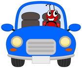 A joyous ant in a blue car — Stock Vector