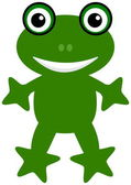A happy green frog — Vector de stock
