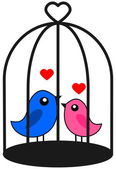 A couple of bird that love caged — Stock Vector