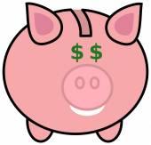 A piggy bank with dollar eyes — Stock Vector