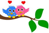 Bird couple on branch — Stock Vector