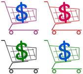 Vagn med dollar — Stockvektor
