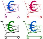 Cart with euro — Vector de stock