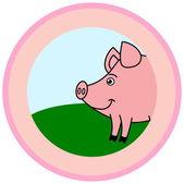 Pig in a logo — Stock Vector
