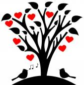 Flowered tree heart with songbird — Stock Vector